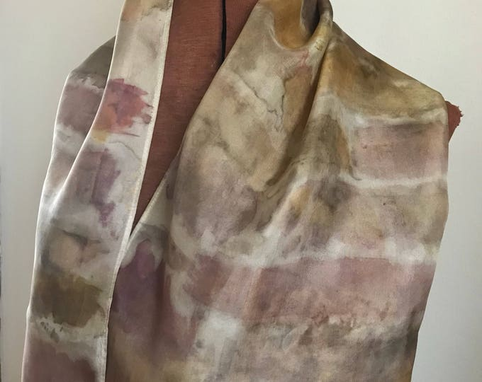 Striped handpainted naturally dyed silk scarf - unique, one of a kind, handpainted.