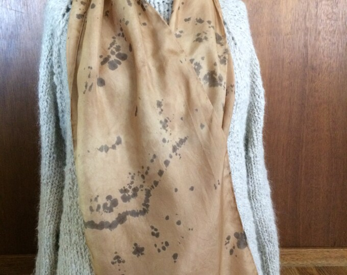 Black walnut and rust naturally dyed silk scarf