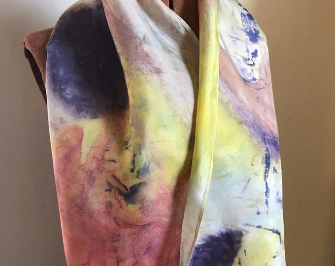 Handpainted naturally dyed silk scarf - unique, one of a kind, plant dyed eco friendly fashion. 004