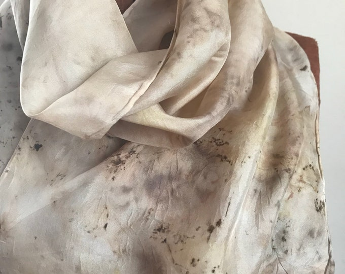 Black walnut - naturally dyed silk scarf