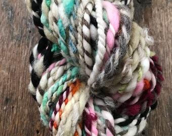 Daydream, 50 yards,  bulky weight handspun yarn, neutral and rainbow two ply yarn
