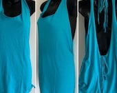 my birthday sale Turquoise blue backless cut woven adjustable Backless tank top shredded t shirt one size fits most