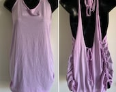 Lilac purple backless cut woven adjustable Backless tank top shredded t shirt one size fits most