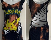 my birthday sale Bleached AF Pokémon pikachu inspired mini dress repurposed upcycled t shirt cover up one size fits most