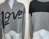 Black and gray Mesh back LOVE long sleeve cropped pullover cropped Zip up sweatshirt sweater size extra large L XL