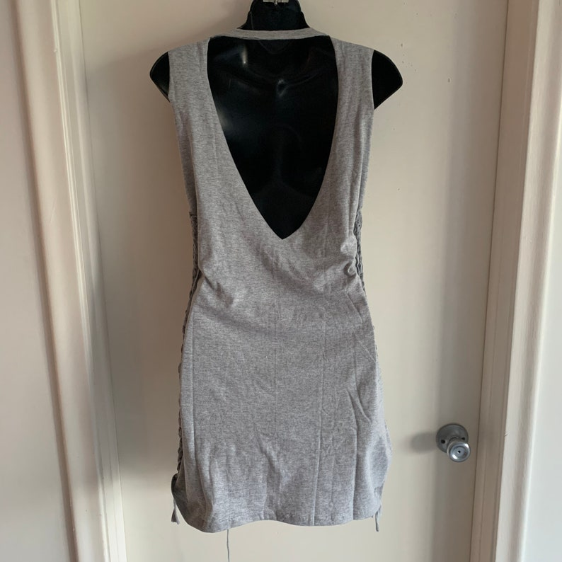 cut up gray backless destroyed woven crochet upcycled repurposed t shirt micro mini dress cover up one size fits most