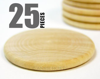 25 Wood Disks for Pendants, Magnets, and More. 1.5 Inch Diameter Rounds.