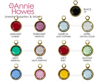 Single Swarovski Birthstone Charms. GOLD Plated Crystal Birthstone Charm. 6mm. Choose your color. Sold as Single. 1128