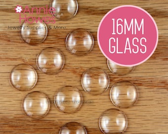16mm Clear Round Glass Tile Shapes for Pendants and Cufflinks. 25 Pack.