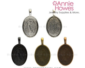 18x25 Oval Cabochon Settings for Glass Cabs. 18x25 Silver, Copper, Gold or Black Plated Pendant Trays. 25 Pack