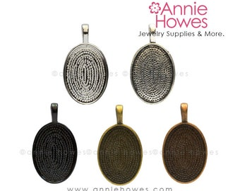 18x25 Oval Cabochon Settings for Glass Cabs. 18x25 Silver, Copper, Gold or Black Plated Pendant Trays. 10 Pack