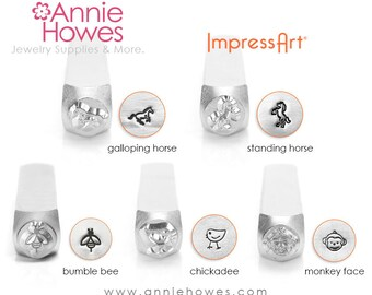 Animal Design Stamp, Horse, Bumble Bee, Chickadee, Monkey Face, your choice.