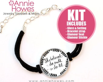 Photo Bracelet DIY Kit. Make Your Own Photo Bracelet. Silver or Antique Silver. Double Loop Setting. 25mm
