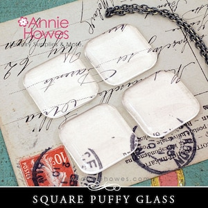 100 Pack - 1 Inch Square 1SQDCAB Domed Top Clear Glass Cabochons 25mm Square Clear Glass tiles.
