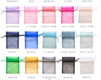 25 Colorful Organza Bags. Gift pouches for jewelry. Choose your Colors. 3x4 Inch. OB3X4