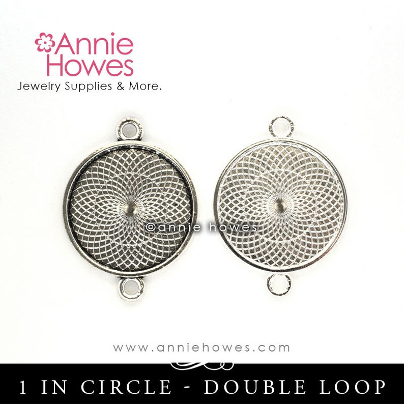 Silver or Antique Silver Make Your Own Photo Bracelet Double Loop Setting Photo Bracelet Combo Pack 25mm