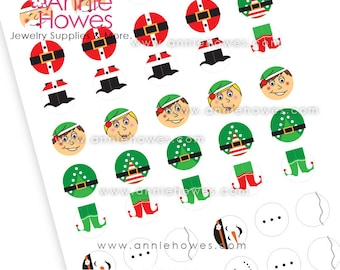 """Instant Download Santa, Elf, and Snowman 1"""" Circle Image Sheet.  PDF Digital Download  for Bottle Caps, Pendants, and Hair Bows."""