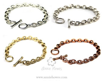 Charm Bracelet with Toggle Clasp in Silver, Antique Silver, Antique Gold, and Antique Copper. Link Chain. CBC-B