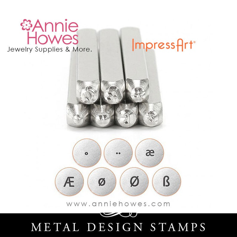 Euro Vowels Stamp Set for Metal Stamped Jewelry  Metal Jewelry Stamping  European Symbols  7 Marking Stamps Set