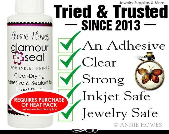 Photo Jewelry Glue. Glamour Seal Glass Cabochon Glue for Glass Pendants is safe for inkjet prints. 1oz 2oz or 4oz size
