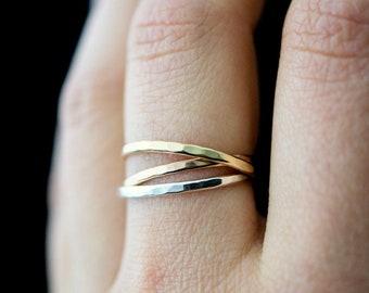 Russian wedding band ring stainless steel no stone interlocking ladies new 1669