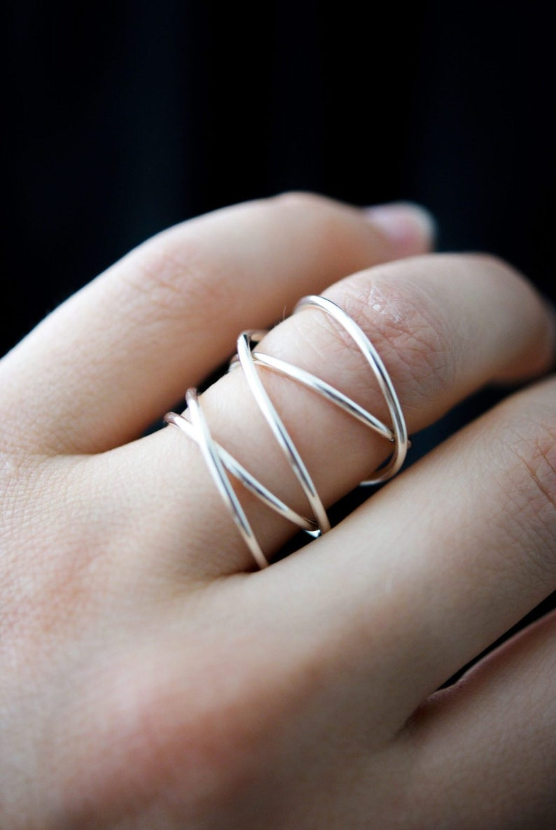 sterling silver wrap ring silver wrap around ring infinity Extra Large Sterling Silver Wraparound ring wrapped silver ring silver ring