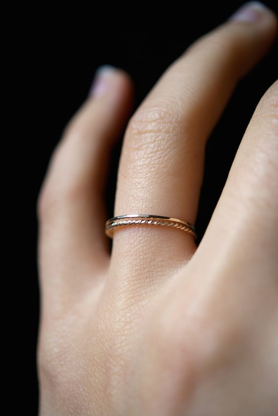 Set of 3 Thin 14k Gold Filled Stacking Rings Delicate Twisted gold filled ring