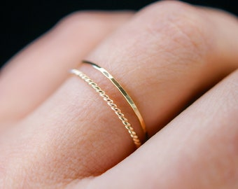 Thin Twist Stacking Set of 2 Rings in 14K Gold fill, gold stack, stackable ring, delicate gold ring, gold ring set, minimal ring, set of 2