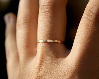 Medium Thickness Gold Stacking ring, hammered stacking ring, 14k gold filled stacking ring, 14k gold fill stackable ring, delicate gold ring