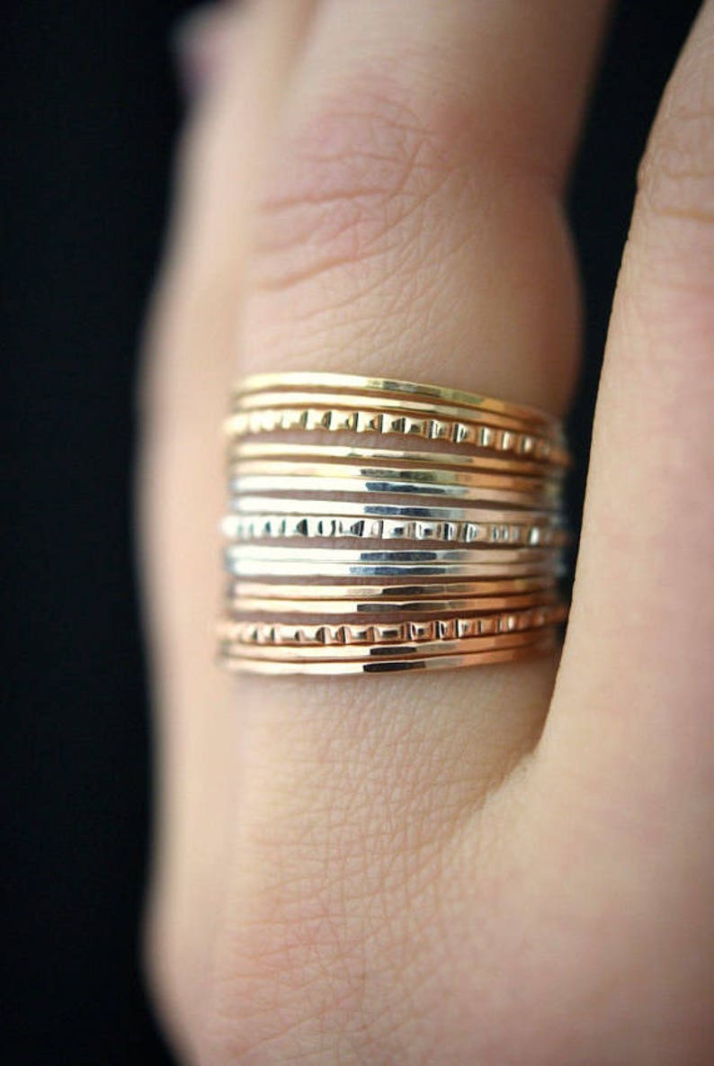 Set of 3 Lined Bangles Rose Gold Textured Gift Set Ultra Thin Lined Set of 5 Rings Gold The LINED GIFT SET Sterling Silver
