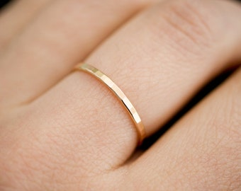 Thick Gold Fill Stacking Ring, hammered stacking ring, 14k gold filled smooth ring, 14k gold fill stackable ring, delicate gold ring