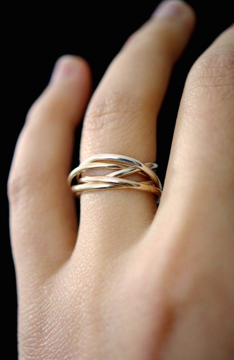 Thin Interlocking rings Set of 5 Rose Gold Gold Silver