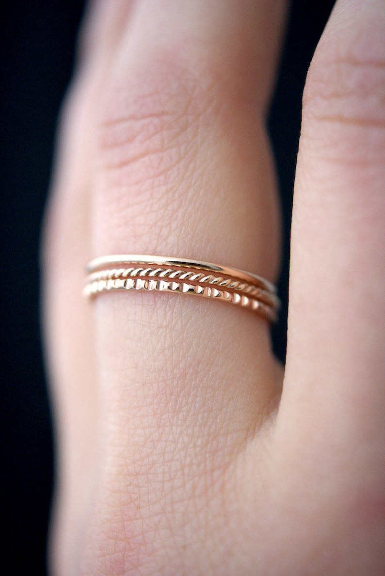 b4c8a1c3ce076 Mixed Texture Rose Gold stacking ring set, 14k rose gold stack ring, ring  set, rose gold fill set, lined ring, twist ring, set of 3