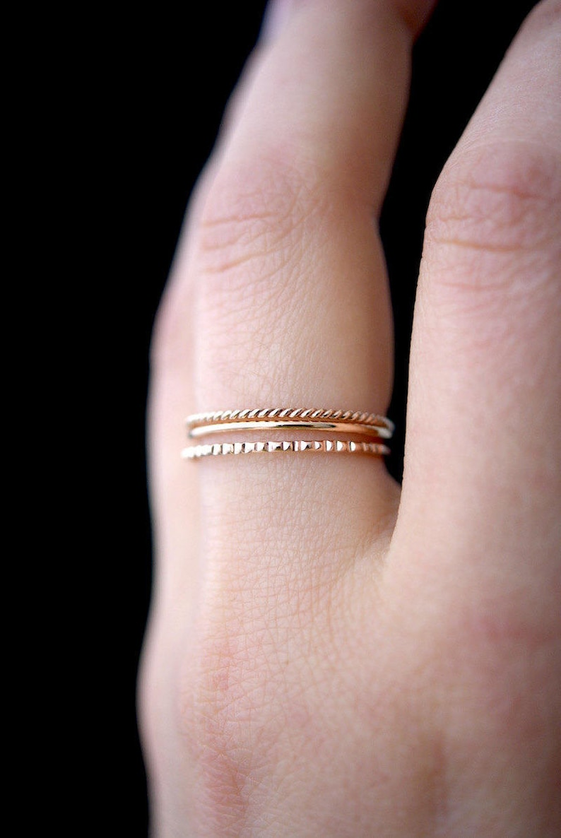 de2680b90e404 SOLID Rose Gold Mixed Texture stacking ring set, 14k rose gold stack ring,  ring set, rose gold set, lined ring, twist ring, set of 3