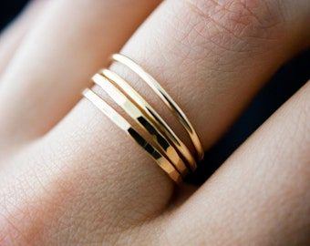 SOLID Thick Gold Stacking ring, hammered stacking ring, 14k gold stacking ring, 14k gold stackable ring, delicate gold ring, solid gold ring