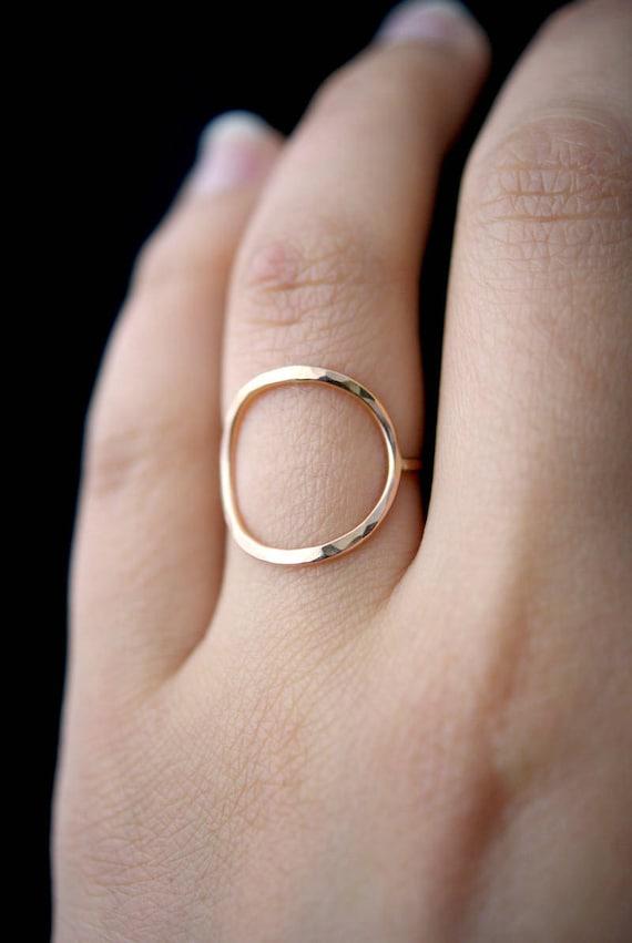 Wedding Band Stacking Rings ROSE Gold Filled Ring Rose Gold Ring Tiny Circle Hammered Ring