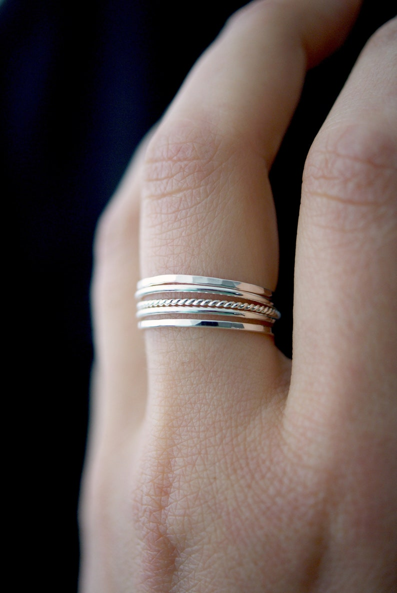 1ed86594aa871 NEW Medium Thickness Sterling Silver Twist stacking ring set, silver stack  ring, silver ring set, delicate silver ring, rope ring, set of 5