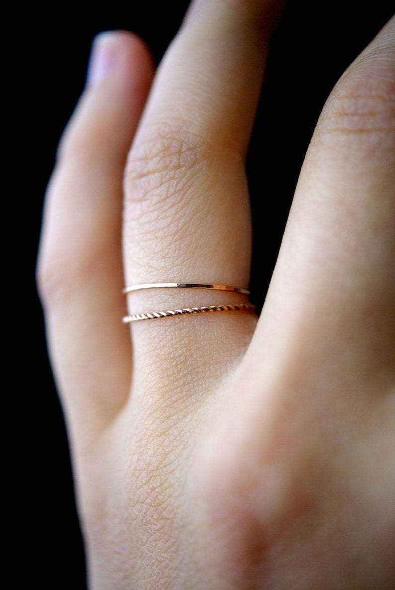 69cf8efc82cf0 14K Rose Gold fill Twist stacking rings, rose gold stack ring, stacking  ring, twist ring, rose gold ring, rope ring, set of 2 thin rings
