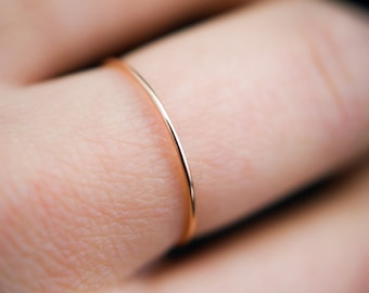 Ultra Thin Rose Gold Stacking ring, hammered stacking ring, 14k rose gold filled stacking ring, rose gold fill stackable ring, thin ring