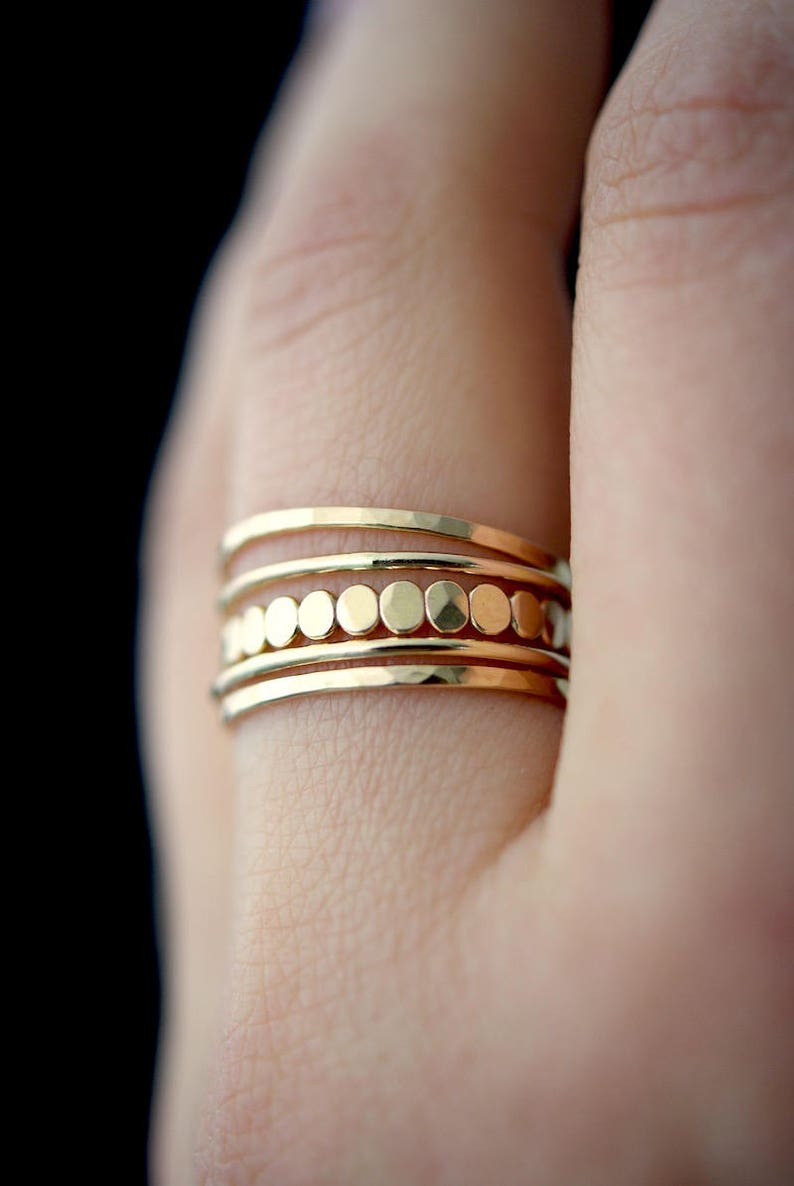 Medium Thickness Gold Bead stacking ring set gold stack ring image 0
