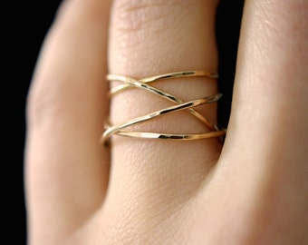 Large Gold Wrap ring, 14k gold fill wraparound ring, wrapped gold ring, gold cocktail ring, gold wrap around, delicate gold ring, smooth