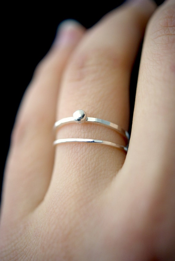 157cfe8a1cd3a In Orbit sterling silver ring, silver stackable ring, silver stacking ring,  sterling silver bead ring, hammered silver rings, delicate ring