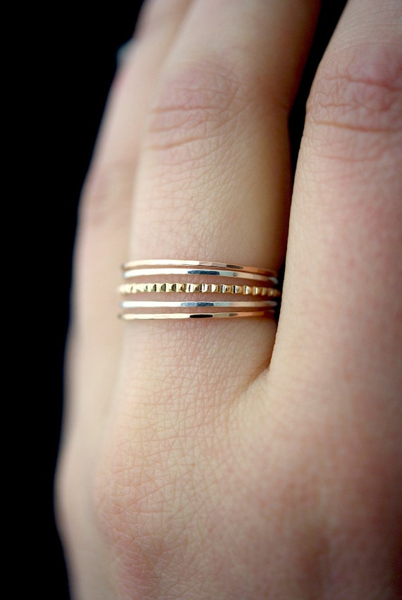 Sterling Silver Dainty Ring Delicate Thin Silver Ring Hammered Silver Ring Rope Ring Silver Stacking Ring Set Silver Midi Ring