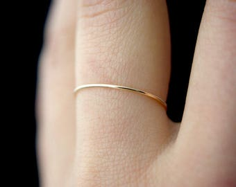 Ultra Thin Gold Stacking ring, hammered stacking ring, 14k gold fill stacking ring, 14k gold fill stackable ring, delicate gold ring