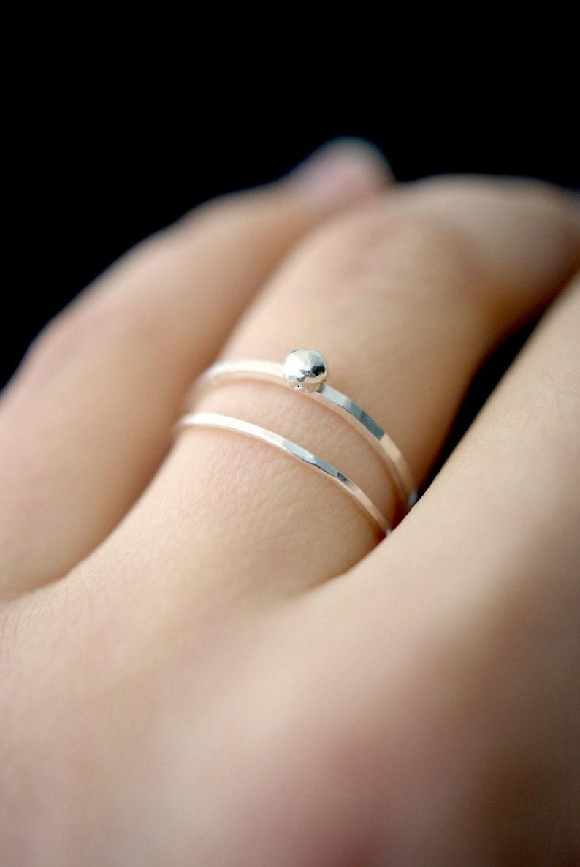 a0fa1b3e82361 In Orbit sterling silver stack ring, silver stackable ring, sterling silver  stacking ring, sterling silver bead ring, hammered silver rings