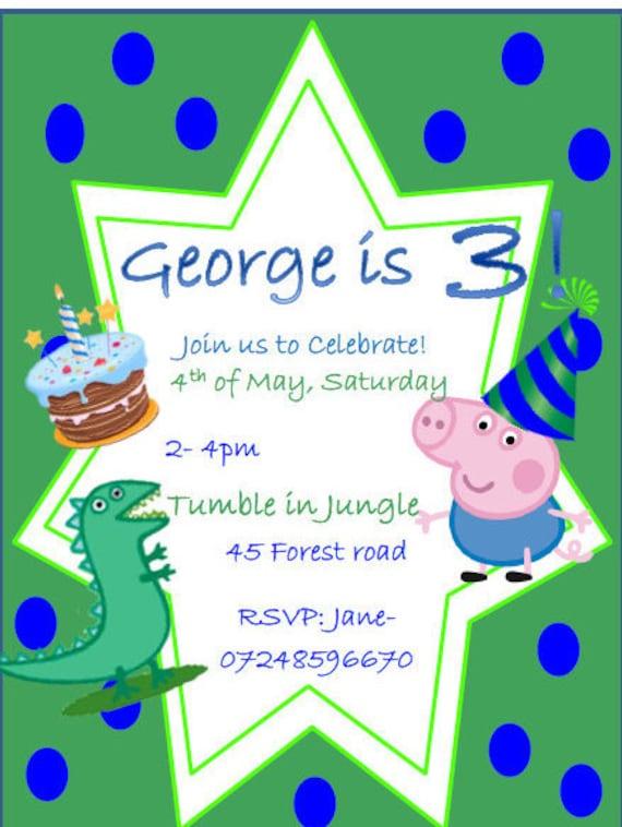 12 Peppa Pig George Personalised Birthday Invitation Cards Free Envelops