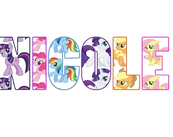 Personalised My little Pony Name Wall-Art with Frame Amazing Gift Idea