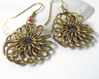 Brass Chrysanthemum Chainmaille Earrings