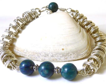 Chrysocolla and Orbital Sterling Chainmaille Bracelet