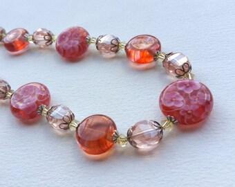 PRIMROSE BLUSH - Artisan Lampwork Bead Necklace
